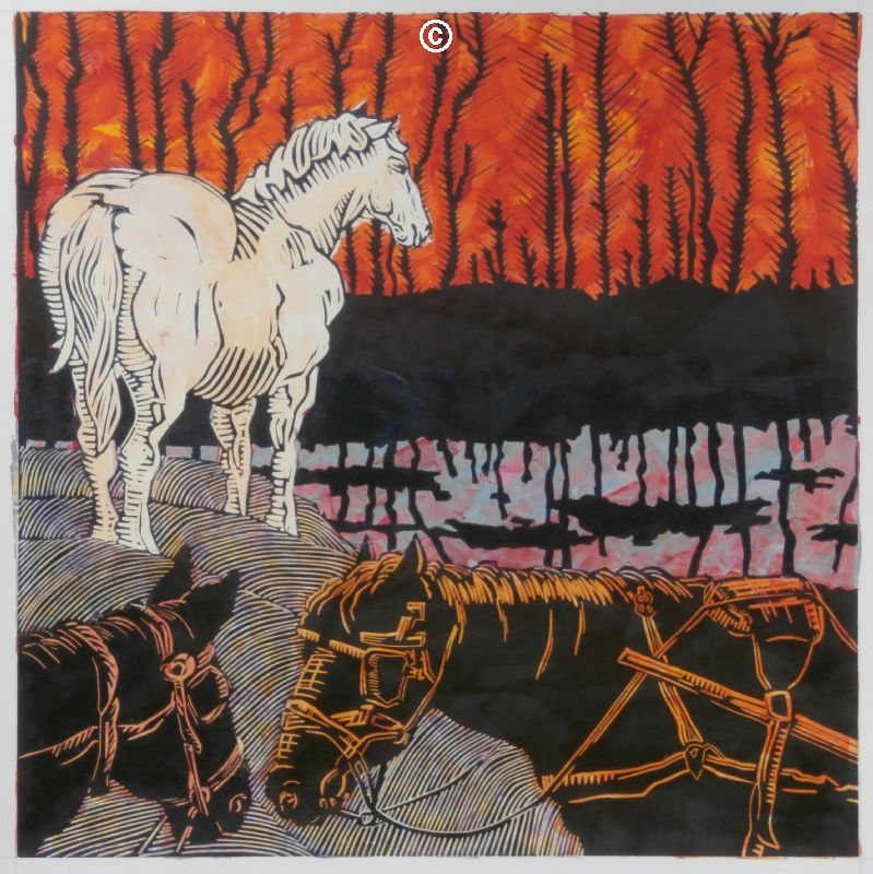 First world war horses linoprint